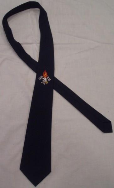 """Krawatte blau, mit Emblem """"Flamme und Helm"""""""